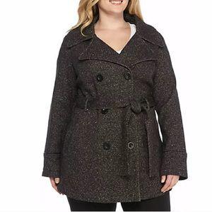 Jones New York Womans Tweed Belter Coat Sz 1X